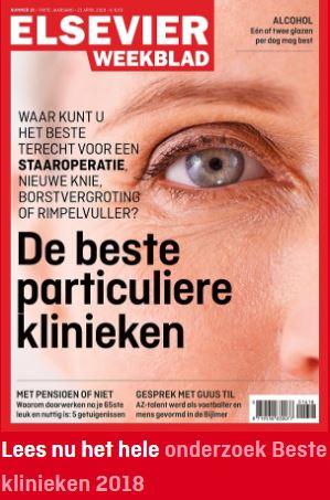 Beste particuliere kliniek 2018, volgens Elsevier Weekblad.